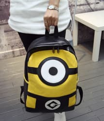 Minion Black Leather Feel Backpack 16 Inch