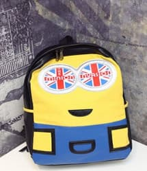 Minion Black Leather Feel Backpack 10 Inch