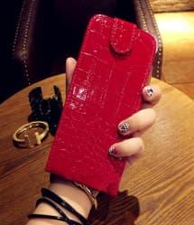 Front Flip Croc Style Leather Designer Flip Case for iPhone 6 Plus