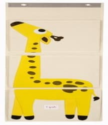 3 Sprouts Yellow Giraffe Cotton Canvas 3 Pockets Wall Hanging Organizer Storage Bag Kid
