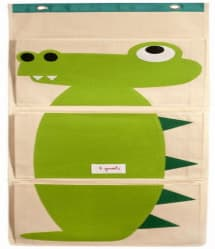 3 Sprouts Green Crocodile Animal Cotton Canvas 3 Pockets Wall Hanging Organizer Storage Bag