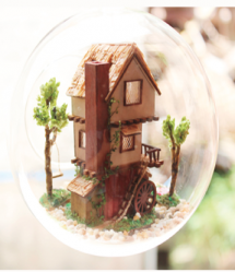 Forest Tree House DIY Miniature House Model Glass Globe Ornament with Voice Control Led Lights Christmas Gift Idea