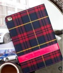 Designer Tartan Check Pattern Fabric Case for iPad 4 3 2