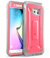 Galaxy S6 Edge Supcase Unicorn Beetle Pro Rugged Holster Case Pink/Gray