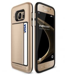 VRS Design Damda Hard Credit Card ID Holder Case For Galaxy S7 Edge Gold