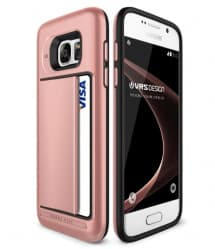 VRS Design Damda Hard Credit Card ID Holder Case For Galaxy S7 Edge Rose Gold