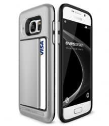 VRS Design Damda Hard Credit Card ID Holder Case For Galaxy S7 Edge Satin Silver