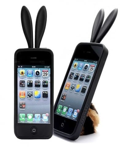 Rabito Bunny Ears Rabbit Furry Tail Black Silicone 3D iPhone 4 Case