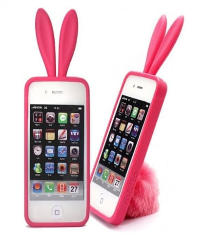 Rabito Bunny Ears Rabbit Furry Tail Hot Pink Silicone 3D iPhone 4 Case