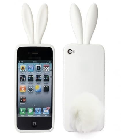 Rabito Bunny Ears Rabbit Furry Tail White Silicone 3D iPhone 4 Case