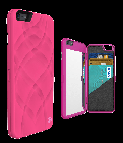 iFrogz Charisma Wallet Mirror Case for iPhone 6 Plus Hot Pink