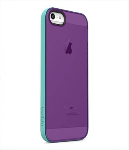 Belkin Grip Candy Sheer for iPhone 5 5s Fountain Blue Purple Lightning
