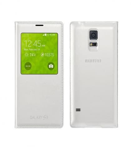 S-View Premium Cover Case for Samsung Galaxy S5 White