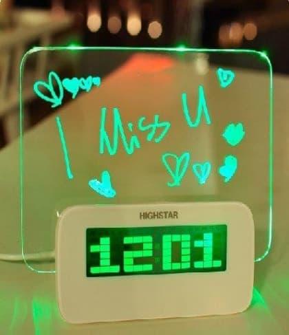 Glowing Magic Message Board LED Digital Alarm Clock Calendar