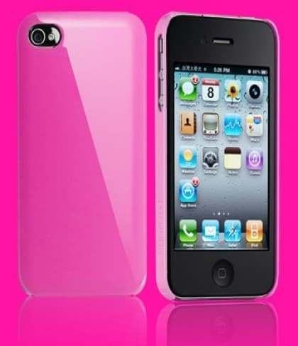 Essential TPE Iro Glossy Magenta Pink UV Coating Snap Case for iPhone 4
