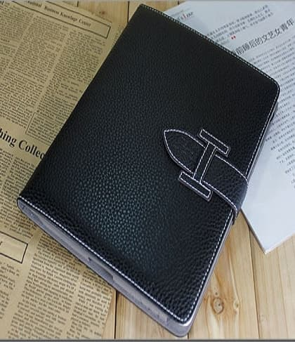 High Fashion Designer Inspiried H Leather Smart Cover Case iPad 2 iPad 3 - Black