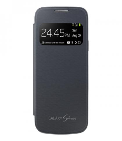 Samsung Galaxy S4 Mini S View Flip Black Case Cover