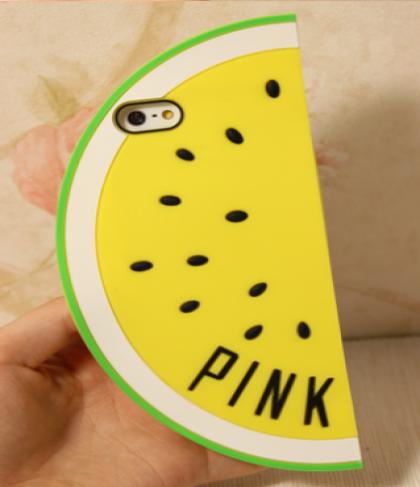 Victoria's Secret Pink Unique Shape iPhone 5 5s Case Watermelon Yellow