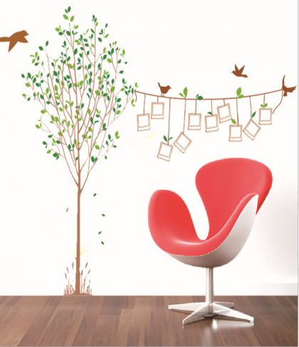 Decorative Living Room Photo Frame Wall Decal Sticker with Trees and Birds