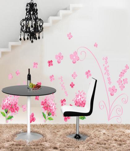 Pink Hydrangeas Wall Decal Sticker
