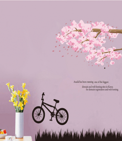 Pink Tree and Bike Wall Decal Sticker
