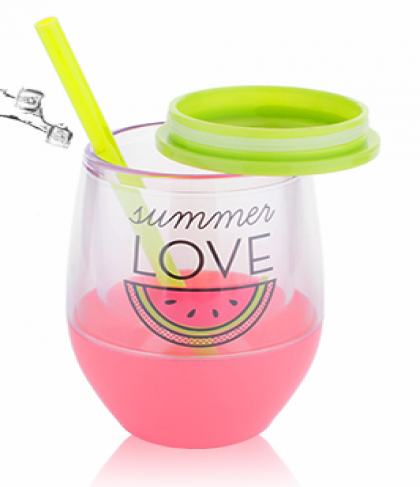 Tanana Summer Iced Drink Short Cup with lid & straw 300ml, 10oz
