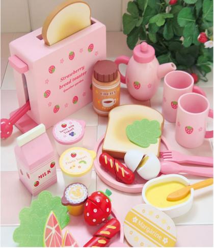 Mother Garden Handmade Wooden Pretend Play Toy--Breakfast Bread Toaster Set