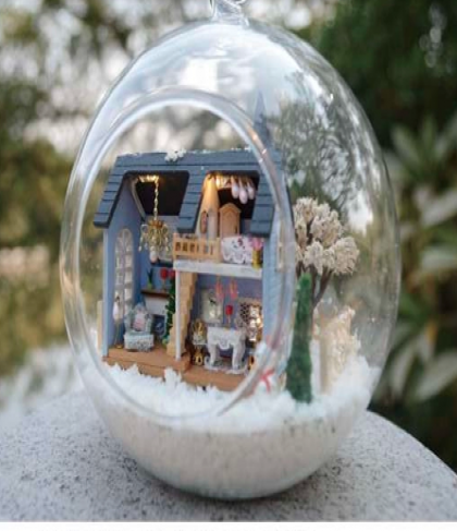 Christmas Gift Idea DIY Miniature House Model Glass Globe Ornament with Led Lights Blue House