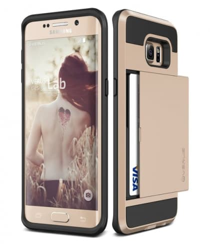 Verus Damda Hard Credit Card ID Holder Case For Galaxy S6 Edge Plus Gold